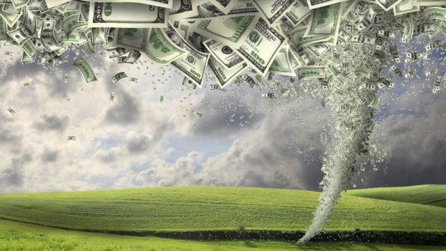 Ilustración de un huracán de dólares