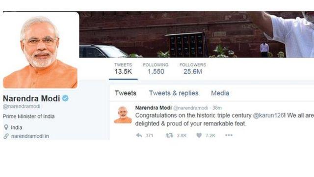 नरेंद्र मोदी का करुण नायर पर ट्वीट