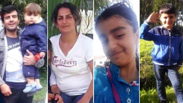 رسول ایراننژاد، ۳۵ ساله، و فرزند ۱۵ ماههاش آرتین، شیوا محمدپناهی، ۳۵ ساله، آنیتا، ۹ ساله، و آرمین، ۶ ساله