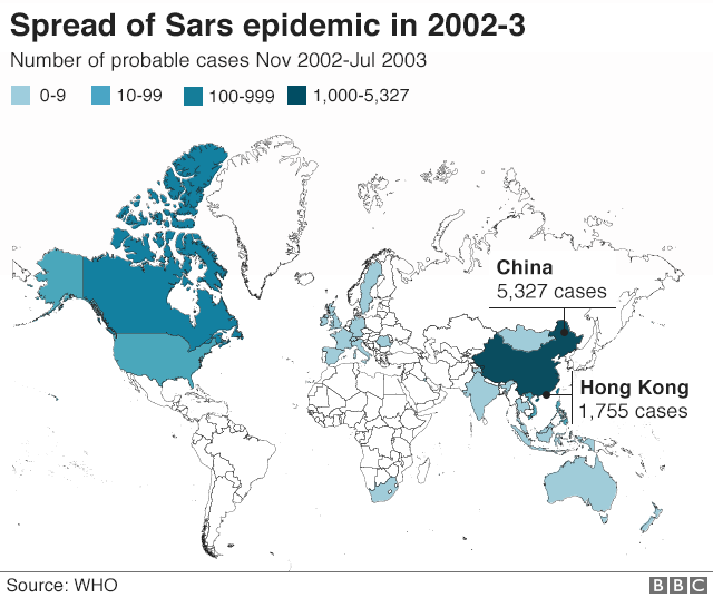 Map showing global spread of SARs