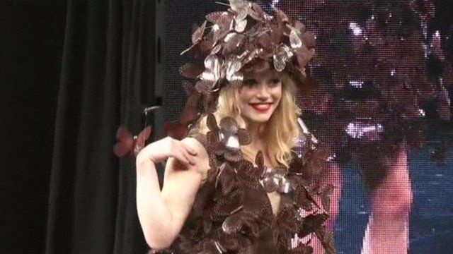 Model wears clothes made entirely from chocolate
