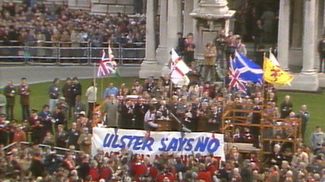 Crowds at a demonstration outside Belfast City Hall