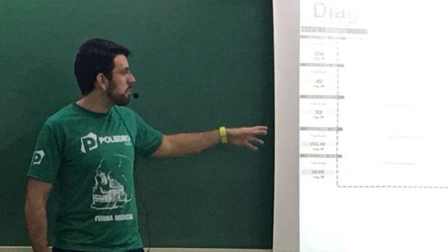 Vinicius de Carvalho Haidar, coordenador do Curso Poliedro, dando aula em frente a um quadro escolar