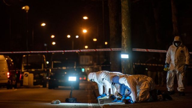 Police carry out a fingertip search in Poynders Road where Sarah was last seen, on 9 March 2021