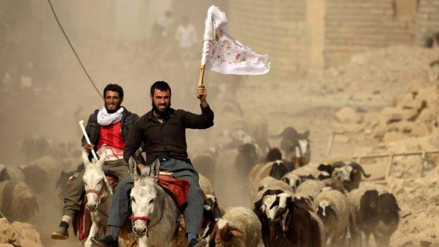 白旗を振るイラク男性たち(1日、モスルの東にあるバズワヤで)