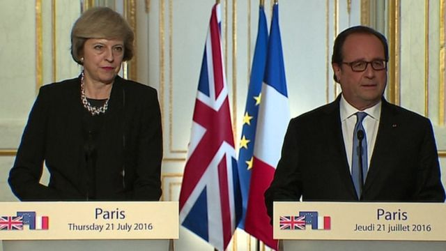 Theresa May and Francois Hollande