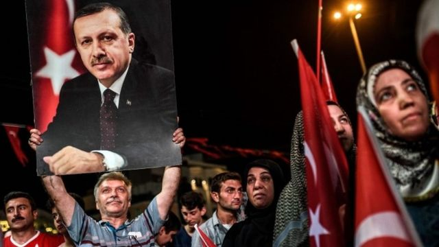 Erdogan supporters at Istanbul rally, 22 July