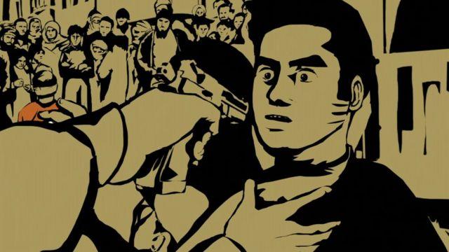 Illustration of gun pointed at man