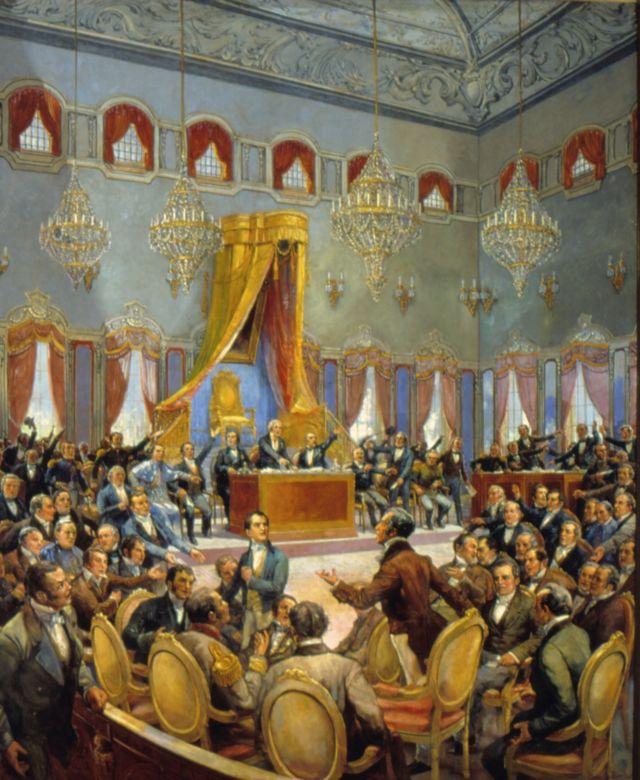 Sessão das cortes de Lisboa, em quadro de Oscar Pereira da Silva