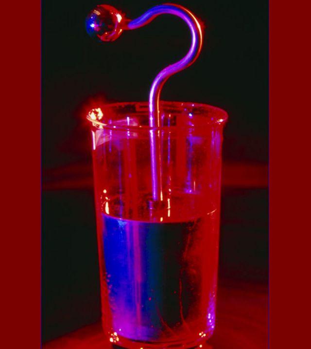 La jarra de Leyden cargada de electricidad estática.