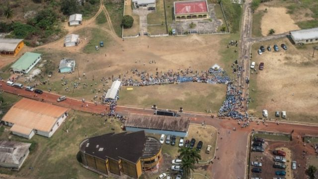 Vue aérienne d'un des quartier de Libreville lors d'un meeting politique