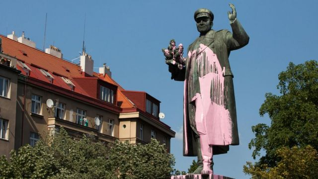 Monument to Soviet military commander Ivan Konev vandalised with pink paint in Prague, Czech Republic, on 8 May 2018.