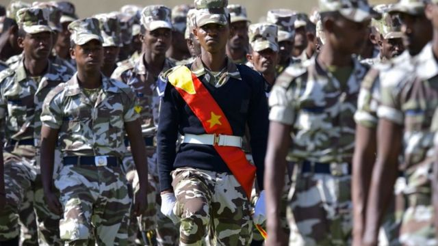 Members of the Tigray region special police force parade during celebrations in Mekelle marking the 45th anniversary of the launching of the struggle against Mengistu's government - 19 February 2020