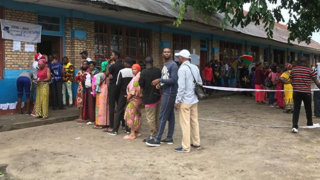 Voters for polling station for Kinshasa