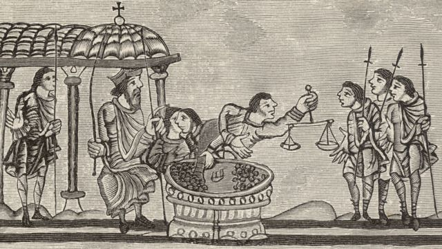 Ilustración de funcionarios cobrando impuestos
