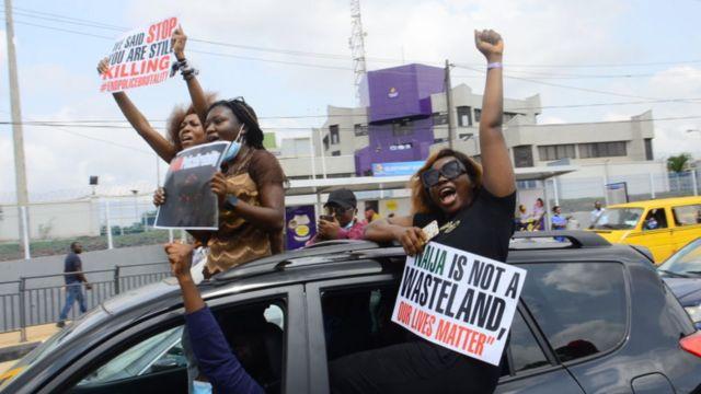 Rinu Oduala - EndSars protesters in Lagos, Nigeria - 13 October 2020