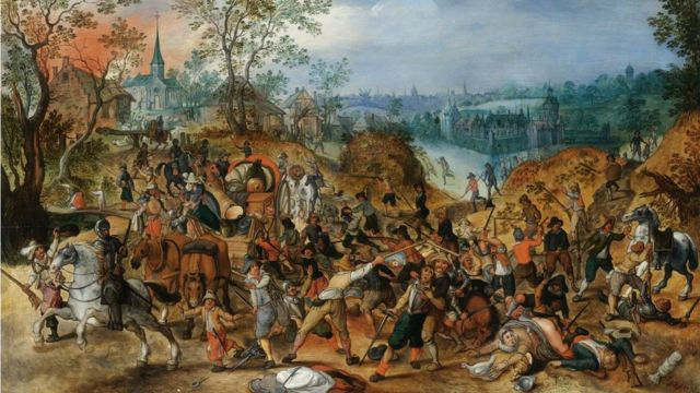 Painting showing an ambush of travellers during the Thirty Years' War