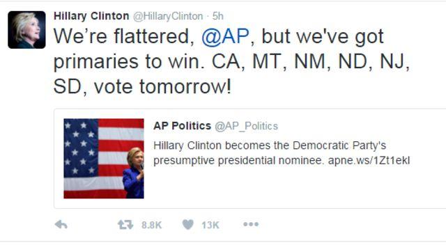 クリントン氏は「AP通信、光栄です。だけど勝たなければならない予備選がある。カリフォルニア、モンタナ、ニューメキシコ、ノースダコタ、ニュージャージー、サウスダコタ、あした投票して!」とツイートした