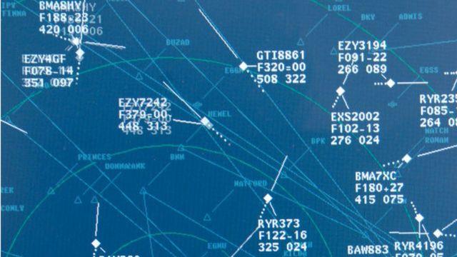 Un pantalla de radar de vuelos