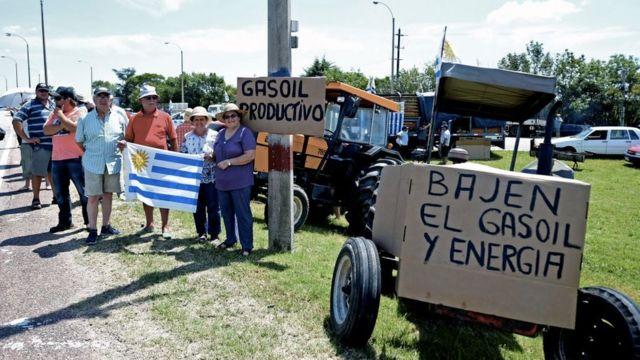 Agricultores protestan en Uruguay