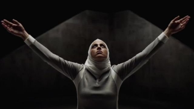 Screen grab from Hoodies ad showing a women in a head scarf