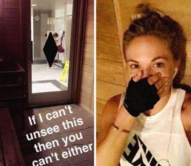 Dani Mathers difundió el 13 de julio la fotografía que tomó en un gimnasio de la cadena LA Fitness en California.