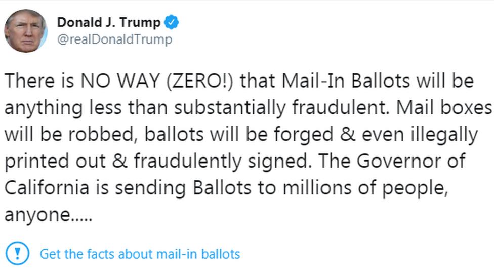 特朗普的贴被推特打上了蓝色惊叹号