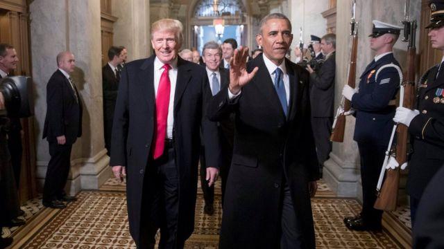 Ông Trump và ông Obama trong ngày ông Trump nhậm chức tổng thống Mỹ.