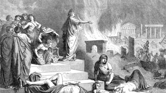 Ilustração de Roma pegando fogo