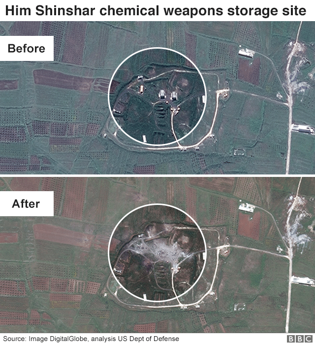 Pre and post-strike aerial shots of Him Shinshar chemical weapons storage site, Syria, showing the destruction, 15 April 2018