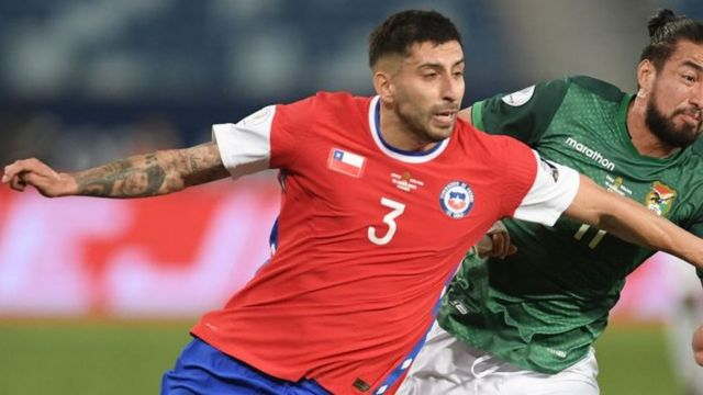 Chile national team player contesting a ball.