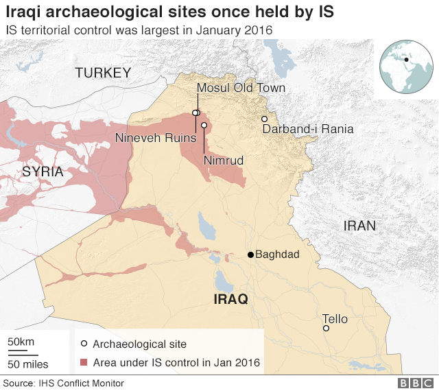 Map of Iraqi archaeological sites and areas once held by IS