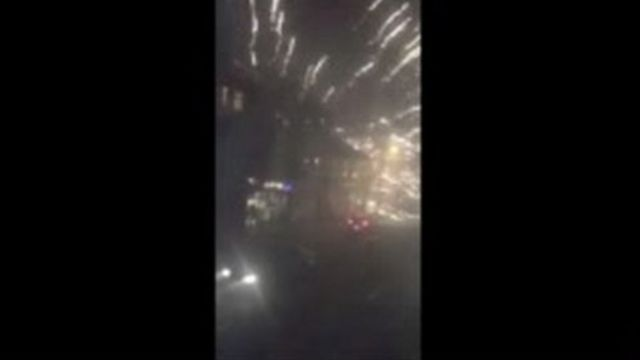 Footage of fireworks being fired at police in Newport