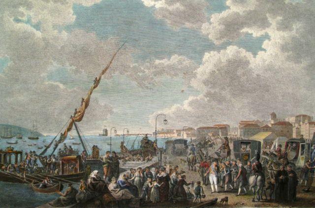 Embarque de la familia real portuguesa en el puerto de Belém, el 29 de noviembre de 1807
