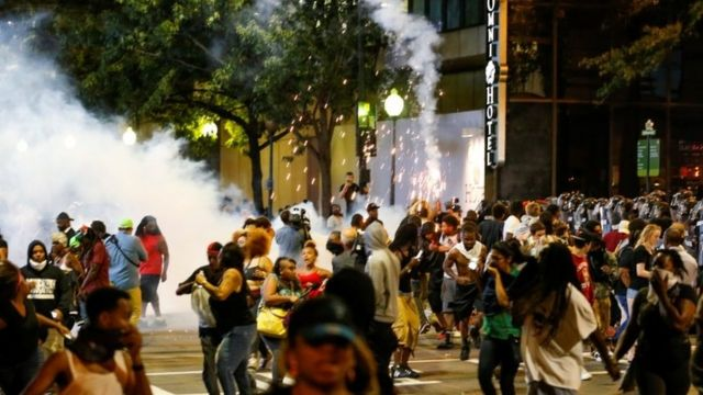 Protesters on streets of Charlotte, North Carolina