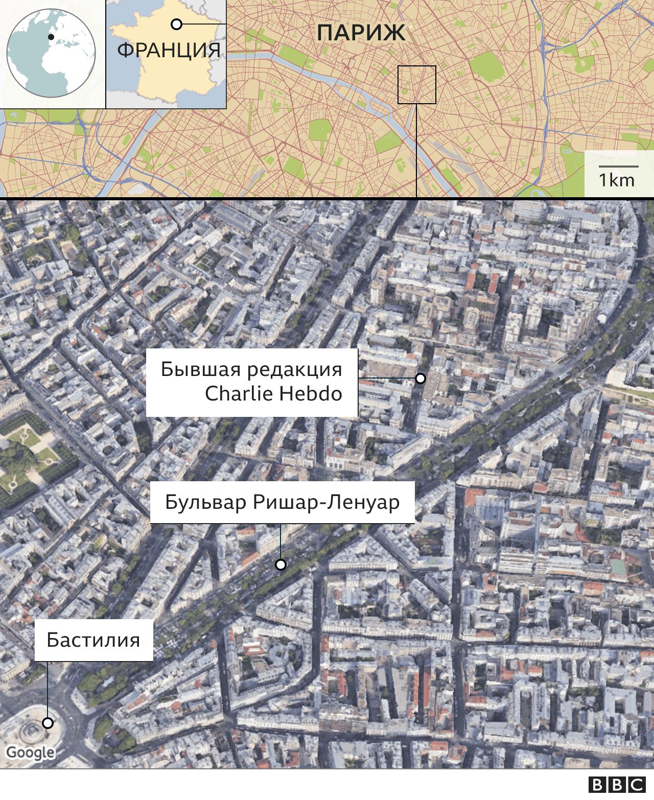 Карта места нападения в Париже