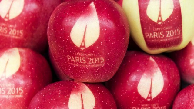 Apples branded for the COP21 meeting in Paris