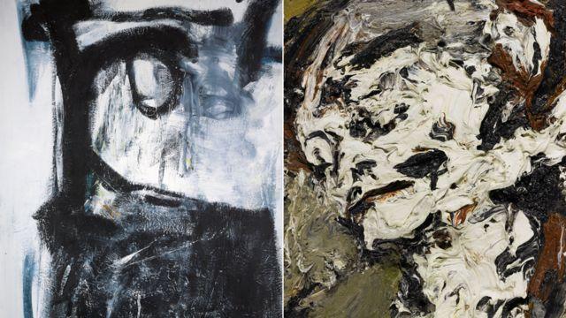Картины Питера Ланьона (слева) и Франка Ауэрбаха из коллекции Боуи