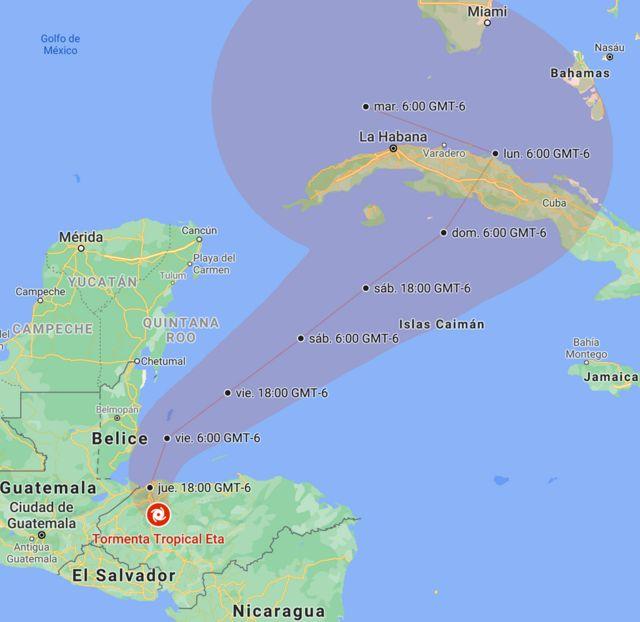 Posición y trayectoria de Eta prevista por el NHC, actualizado a las 06:00 CST (GMT-6) del jueves, 5 de noviembre.