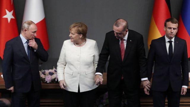 ميركل وبوتين وأردوغان وماكرون