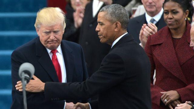 Donald Trump, Barack Obama y Michelle Obama.