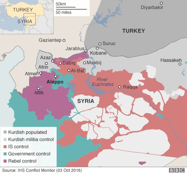 Map showing control of northern Syria - 3 October 2016