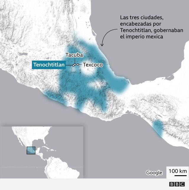 Mapa que situa las tres ciudades Tenochtitlan, Texcoco y Tacuba.