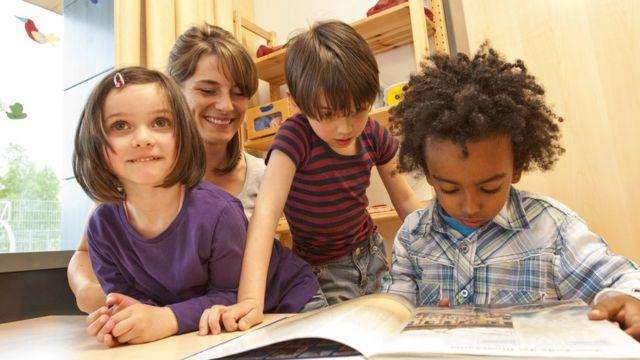 Crianças e professora lendo um livro na escola