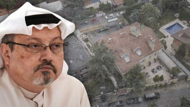 Montagem fotográfica mostra Jamal Khashoggi, com o consulado saudita em Istambul ao fundo