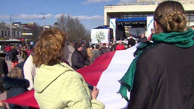 Pro-Russians in Simferopol