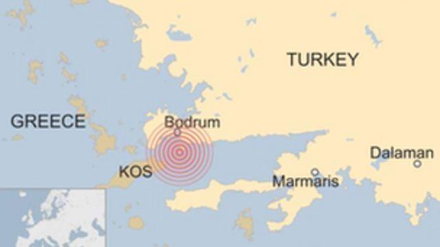 La carte de l'épicentre du séisme