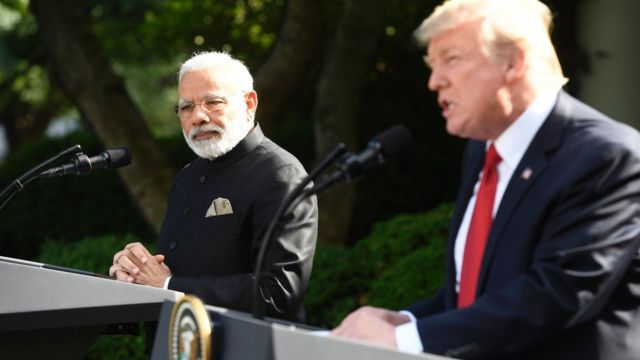 President Donald Trump and Indian Prime Minister Narendra Modi after their meeting in the Oval Office of the White House in Washington, June 26, 2017