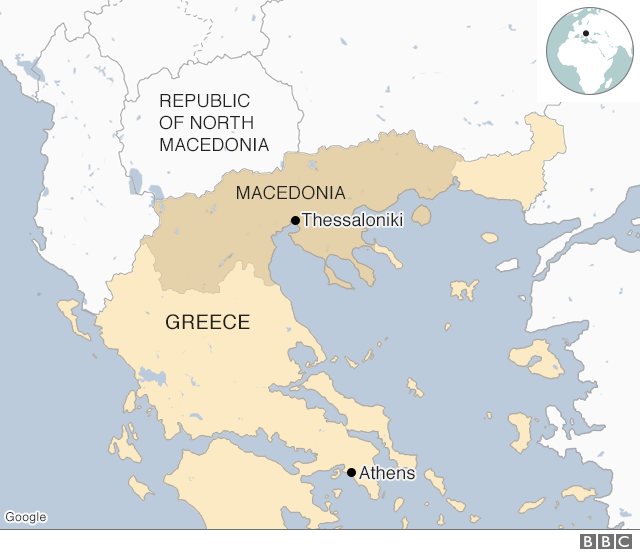 Map of Greece and the Republic of North Macedonia