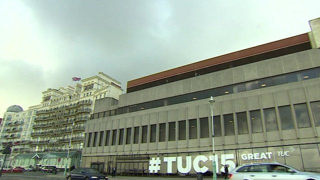 Grand Hotel and Brighton Centre with TUC sign
